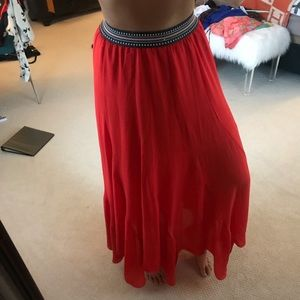 Vibrant Red Flowing Maxi Skirt